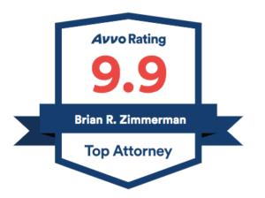 AVVO rating 9.9 Brian R. Zimmerman